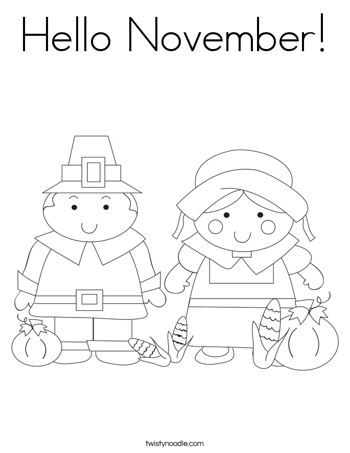 Hello November Coloring Page Twisty Noodle November Coloring Page