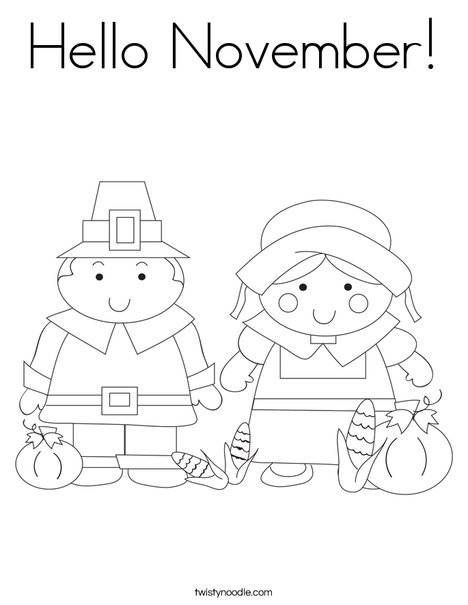 Pilgrim Couple Coloring Page