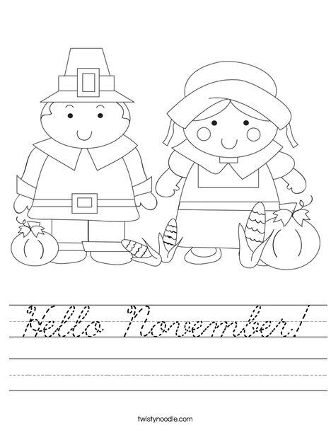 Pilgrim Couple Worksheet