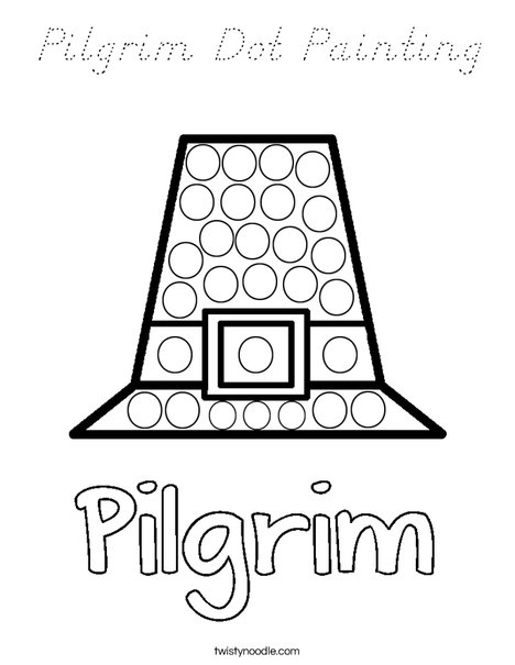 Pilgrim Dot Painting Coloring Page