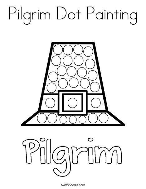 Pilgrim Dot Painting Coloring Page