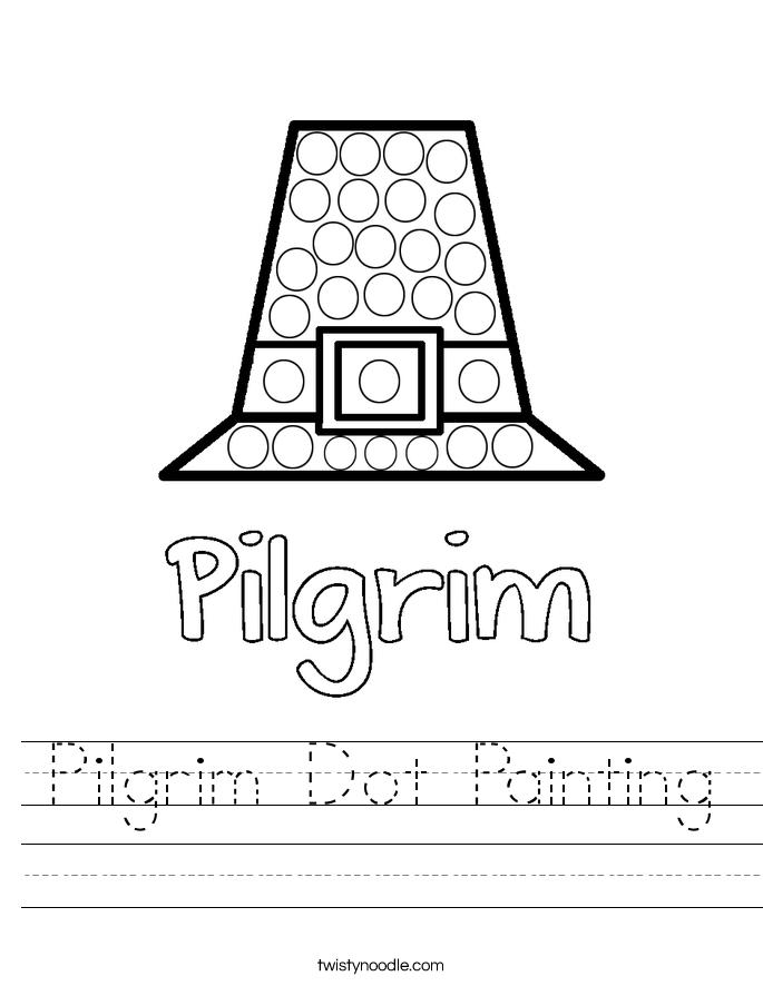 Pilgrim Dot Painting Worksheet