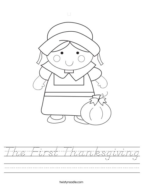 Pilgrim Girl Worksheet
