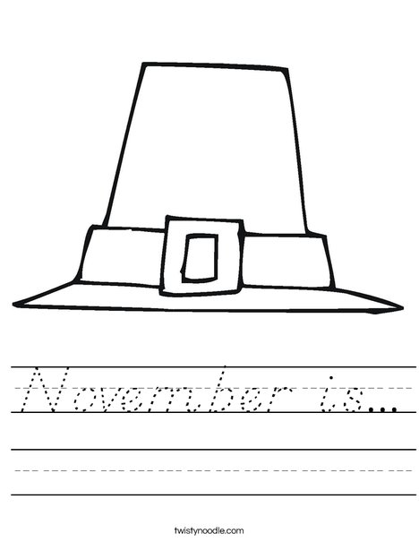 Pilgrim Hat Worksheet
