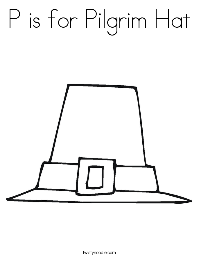 P is for Pilgrim Hat Coloring Page
