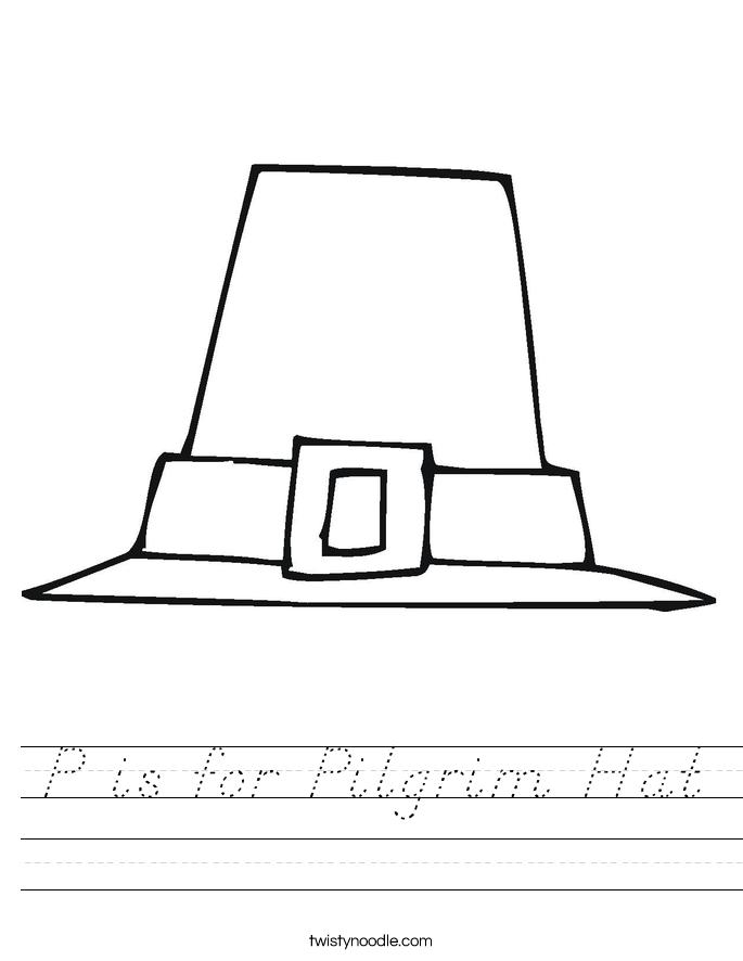 P is for Pilgrim Hat Worksheet