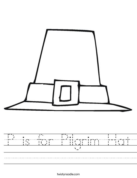 p is for pilgrim hat worksheet twisty noodle. Black Bedroom Furniture Sets. Home Design Ideas