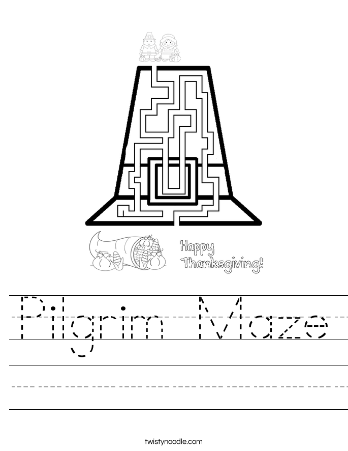 Pilgrim Maze Worksheet