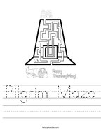 Pilgrim Maze Handwriting Sheet