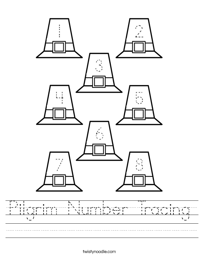 Pilgrim Number Tracing Worksheet