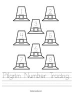 Pilgrim Number Tracing Handwriting Sheet
