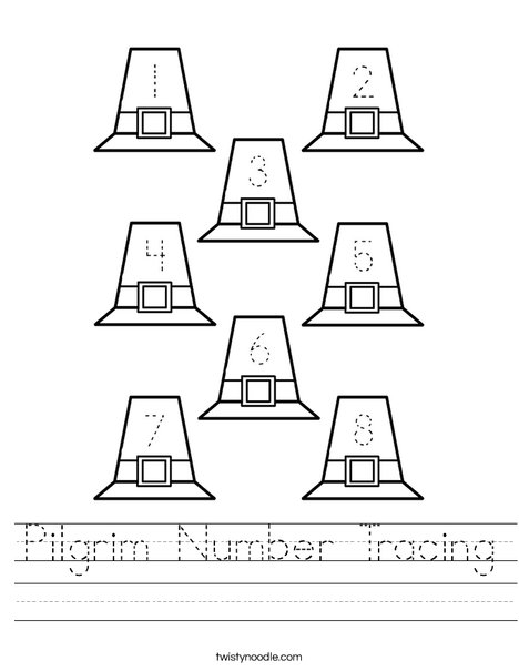 pilgrim number tracing worksheet twisty noodle. Black Bedroom Furniture Sets. Home Design Ideas
