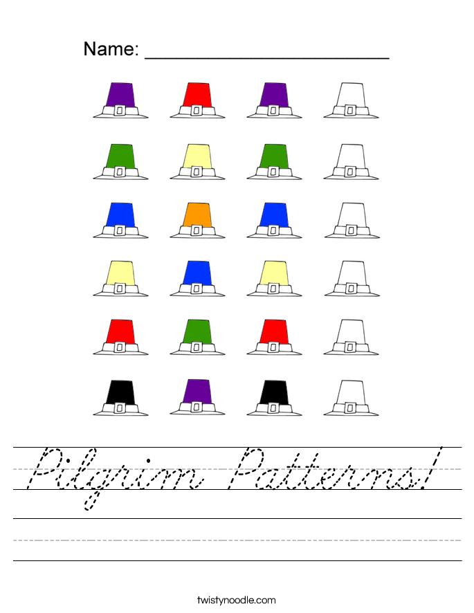 Pilgrim Patterns! Worksheet