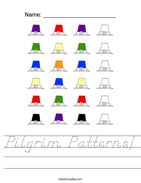 Pilgrim Patterns Worksheet
