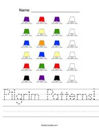 Pilgrim Patterns Handwriting Sheet