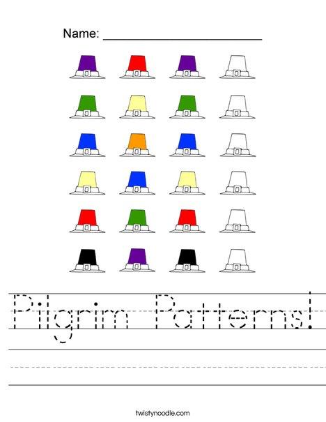 Pilgrim Patterns Worksheet