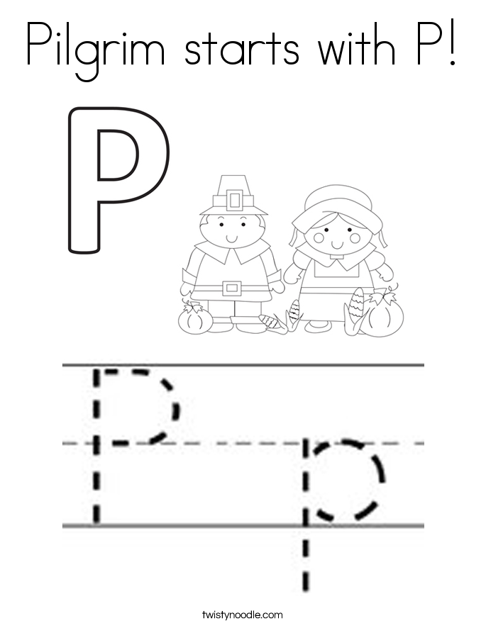 Pilgrim starts with P! Coloring Page