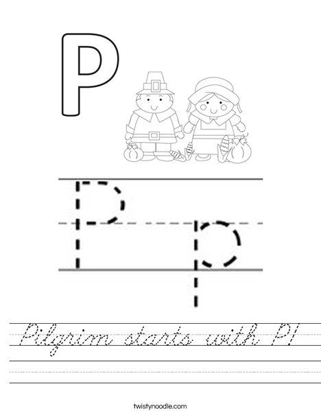 Pilgrim starts with P! Worksheet