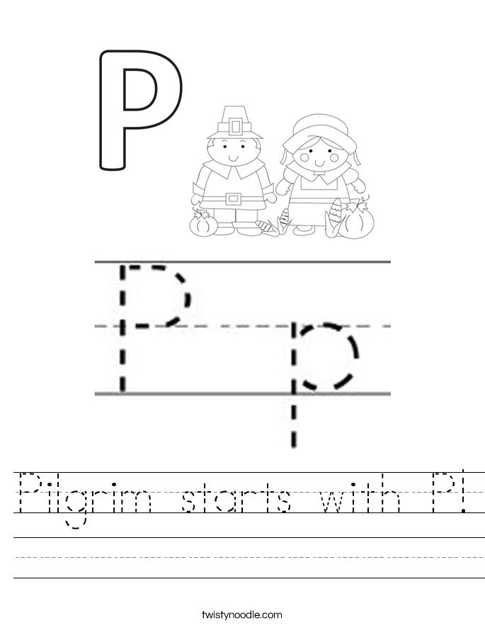 Pilgrim starts with P! Worksheet