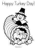 Happy Turkey Day Coloring Page