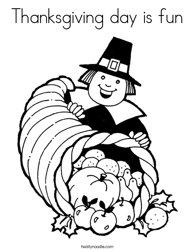 Thanksgiving day is fun Coloring Page - Twisty Noodle