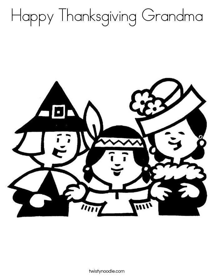 Happy Thanksgiving Grandma Coloring Page