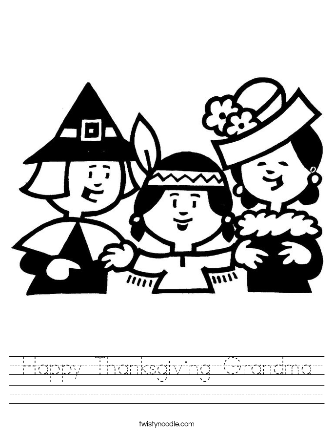 Happy Thanksgiving Grandma Worksheet