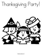 Thanksgiving Party Coloring Page