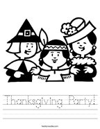 Thanksgiving Party Handwriting Sheet