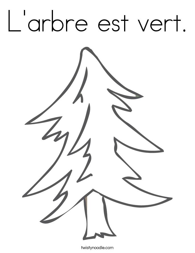 L'arbre est vert. Coloring Page