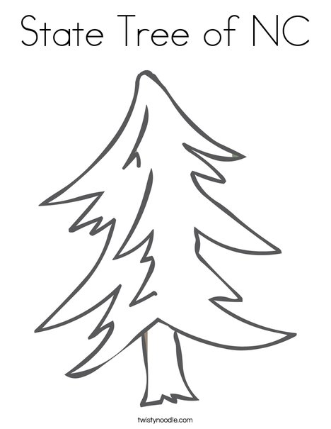 State Tree of NC Coloring Page - Twisty Noodle