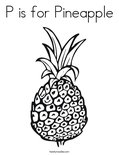 P is for PineappleColoring Page