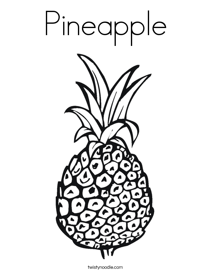 Pineapple coloring page twisty noodle printable pineapple pictures Strawberry Coloring Pages Pineapple Coloring Pages Cute