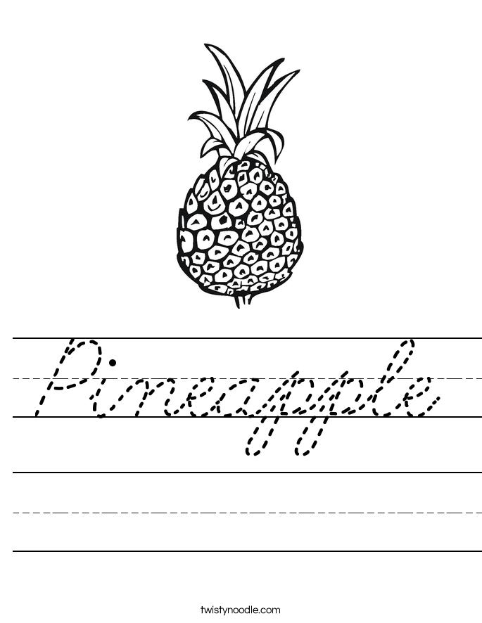 Pineapple Worksheet Cursive Twisty Noodle