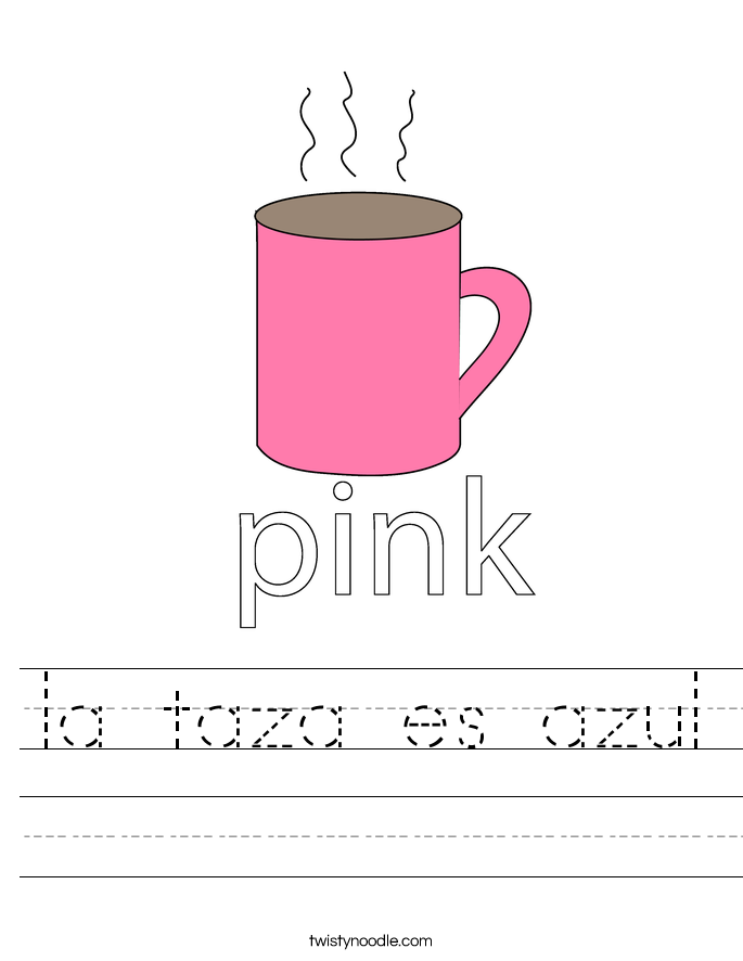 la taza es azul Worksheet