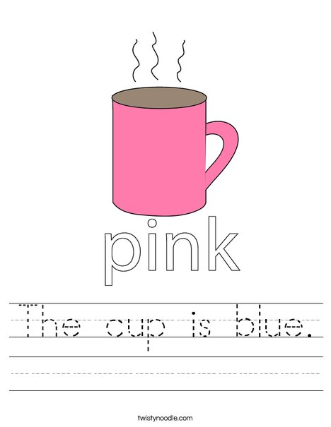 The Cup Is Blue Worksheet Twisty Noodle