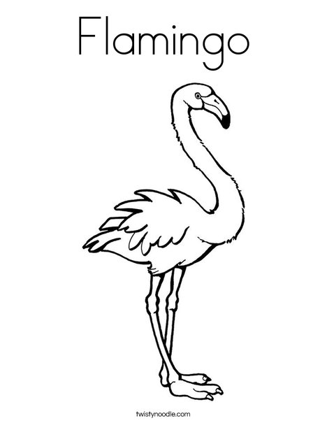 Pink Flamingo Coloring Page