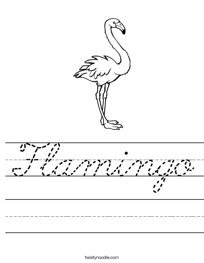 Flamingo Worksheet Cursive Twisty Noodle