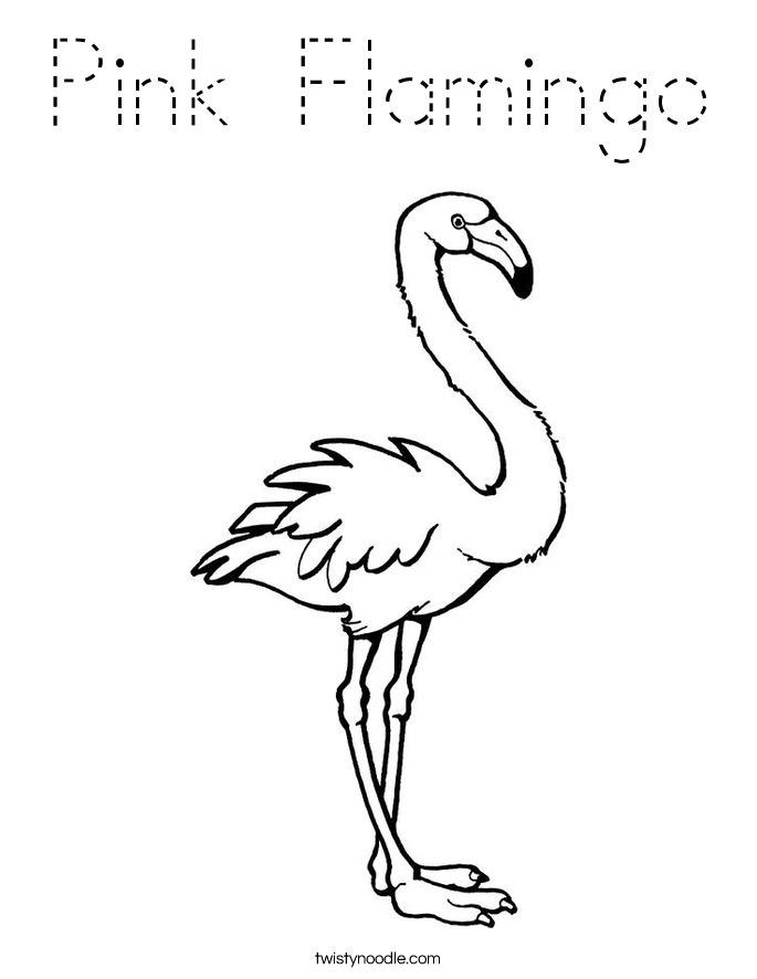 pink flamingo coloring page - tracing