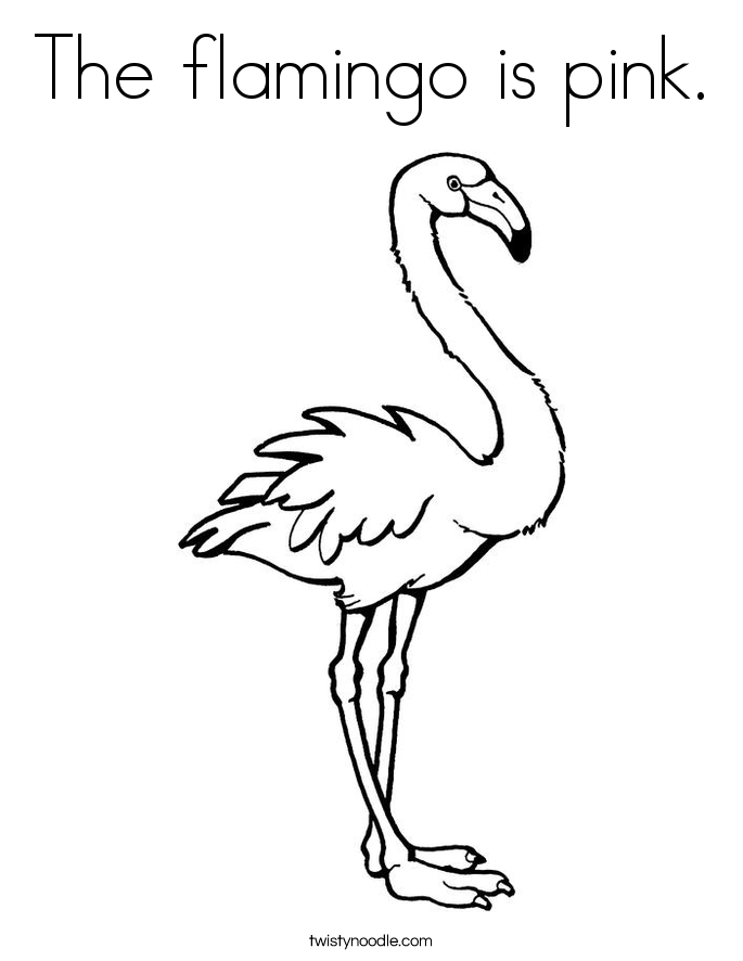 The flamingo is pink. Coloring Page