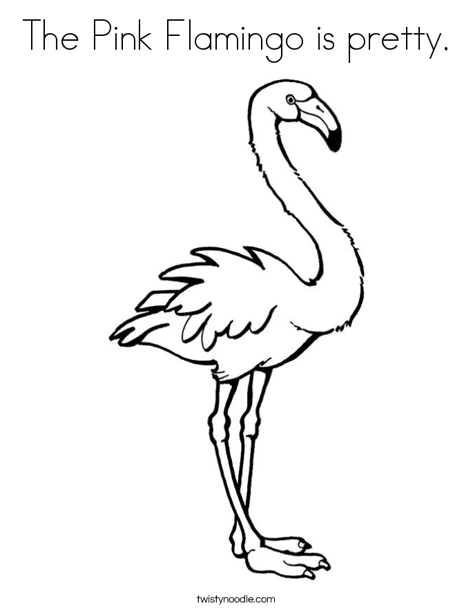 The Pink Flamingo is pretty. Coloring Page