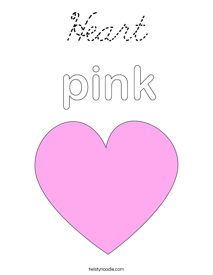 Heart Coloring Page Cursive