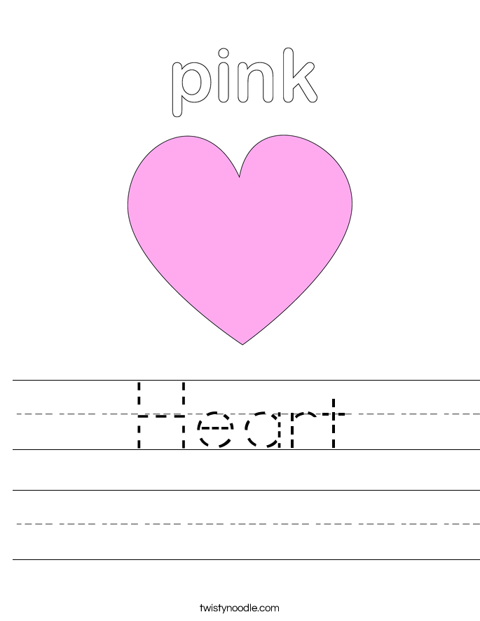 Printables Heart Worksheets heart worksheet twisty noodle worksheet