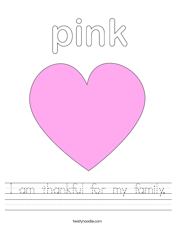 I am thankful for my family. Worksheet