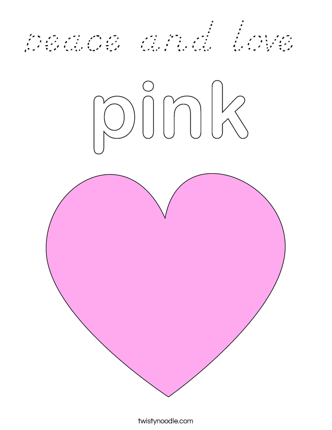 peace and love Coloring Page - D'Nealian - Twisty Noodle