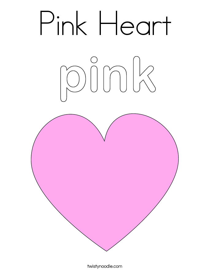 Pink Heart Coloring Page Twisty Noodle