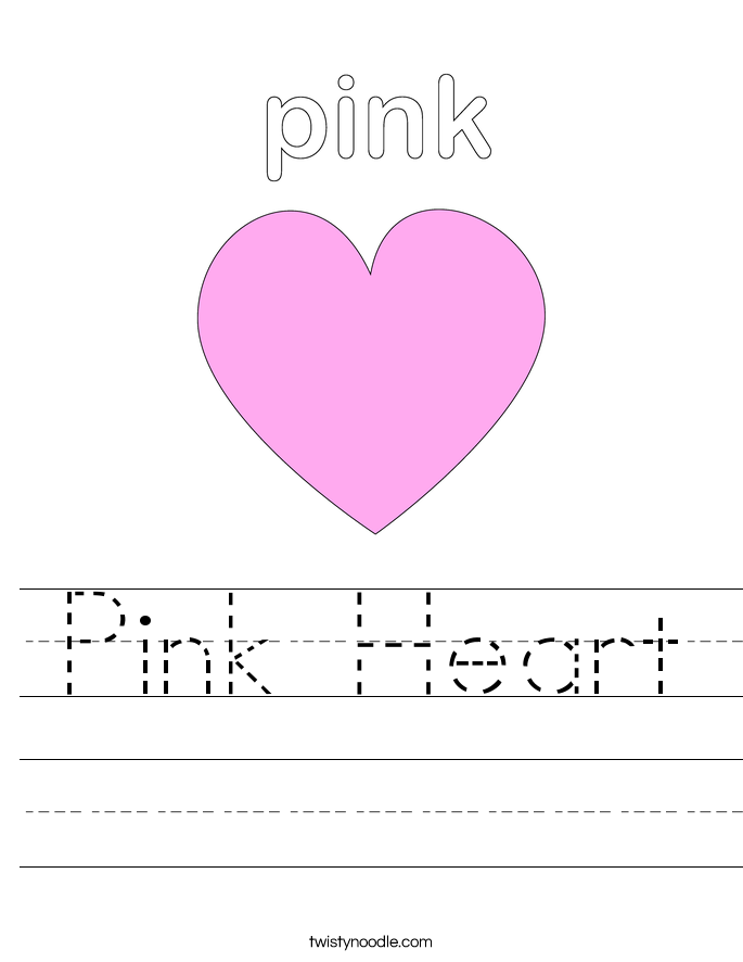 Printables Heart Worksheets pink heart worksheet twisty noodle worksheet