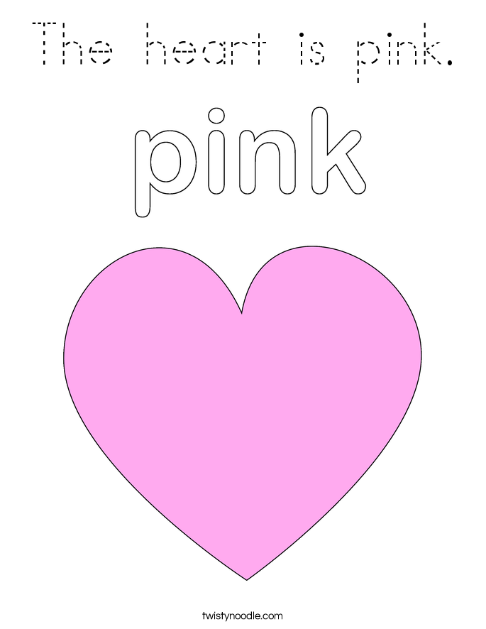 The heart is pink. Coloring Page