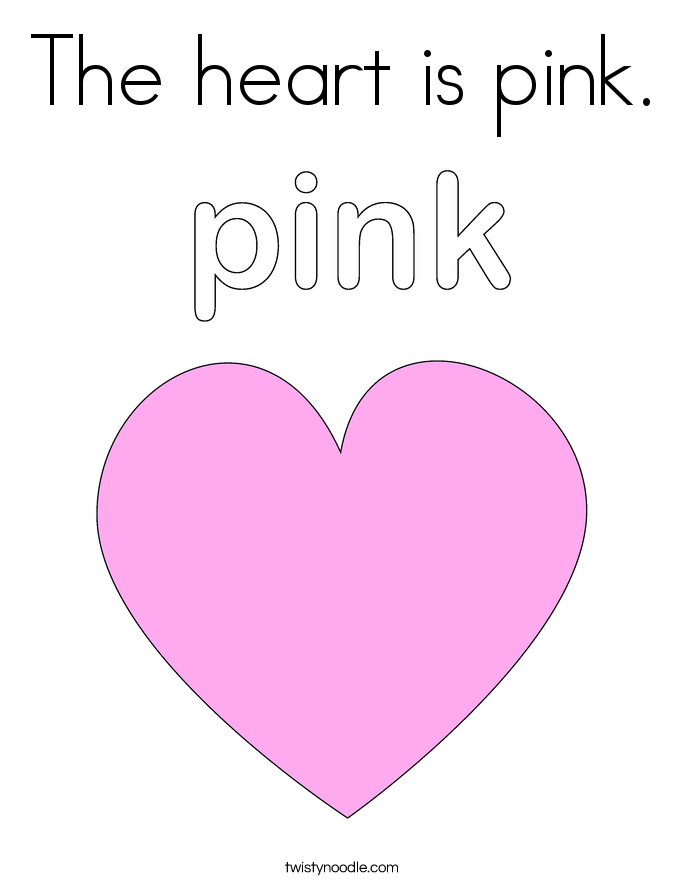 The heart is pink Coloring Page - Twisty Noodle