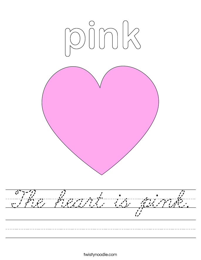 The heart is pink. Worksheet
